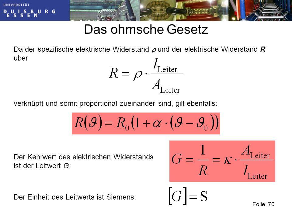 Das ohmsche Gesetz Da der spezifische elektrische Widerstand r und der elektrische Widerstand R über.