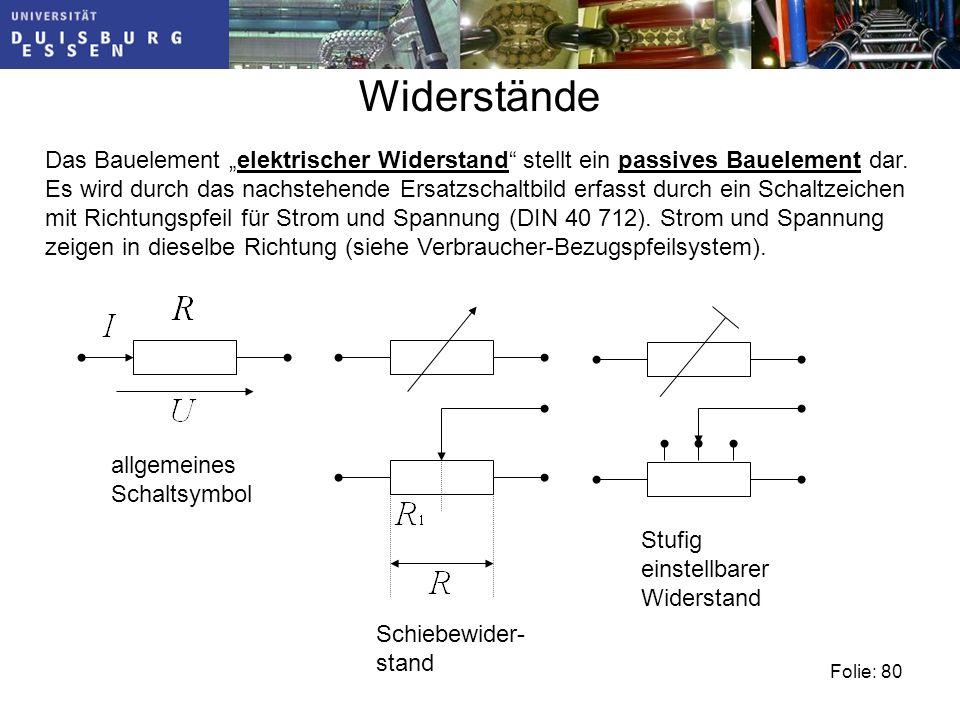 """Widerstände Das Bauelement """"elektrischer Widerstand stellt ein passives Bauelement dar."""