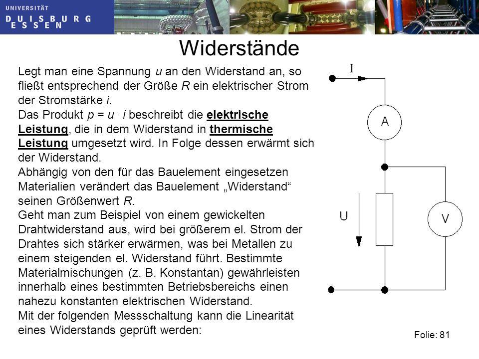 Widerstände Legt man eine Spannung u an den Widerstand an, so fließt entsprechend der Größe R ein elektrischer Strom der Stromstärke i.