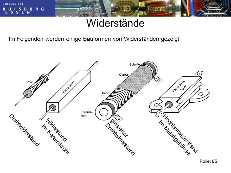 Widerstände Im Folgenden werden einige Bauformen von Widerständen gezeigt: Drahtwiderstand. Widerstand.