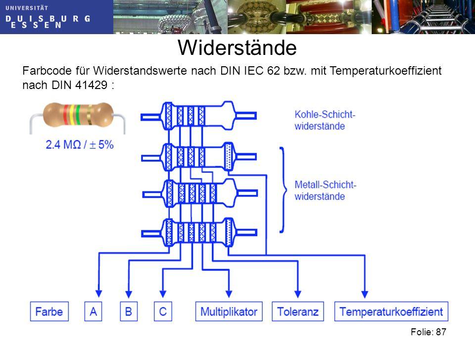 Widerstände Farbcode für Widerstandswerte nach DIN IEC 62 bzw.