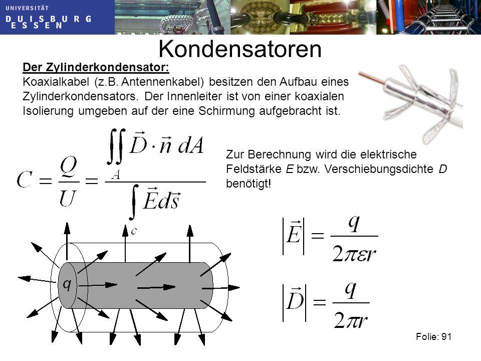 Kondensatoren Der Zylinderkondensator: