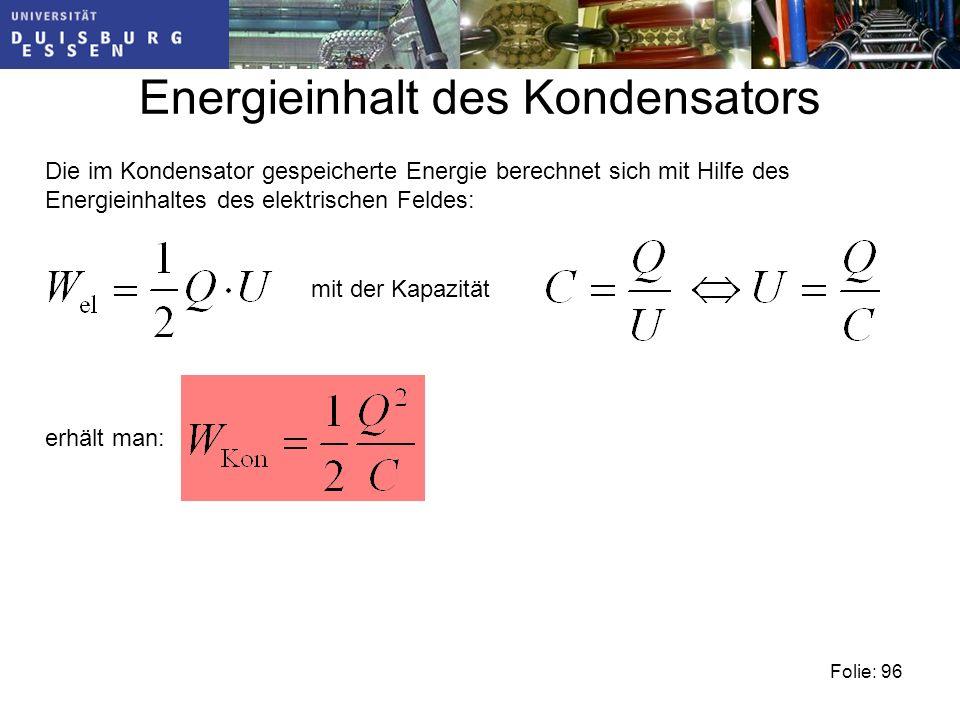 Energieinhalt des Kondensators