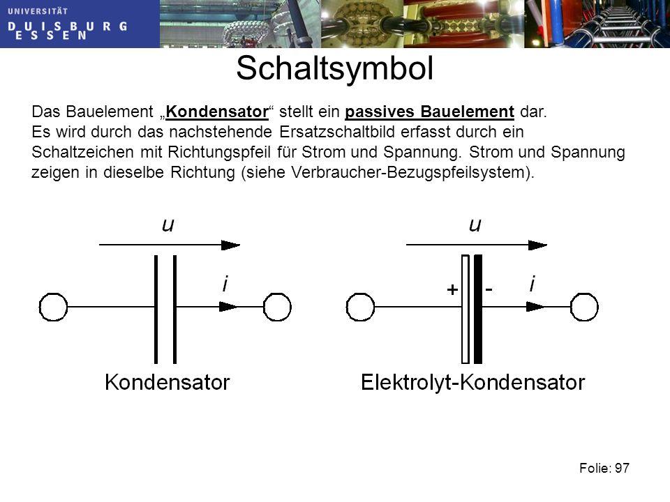 """Schaltsymbol Das Bauelement """"Kondensator stellt ein passives Bauelement dar."""