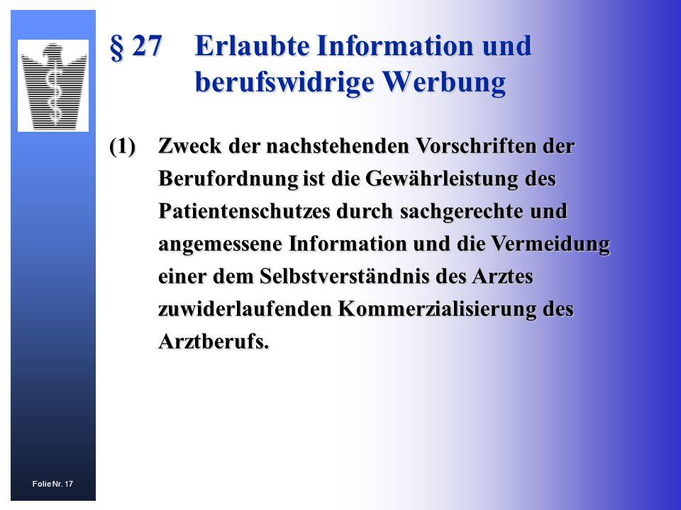 § 27 Erlaubte Information und berufswidrige Werbung