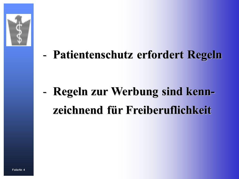 Patientenschutz erfordert Regeln