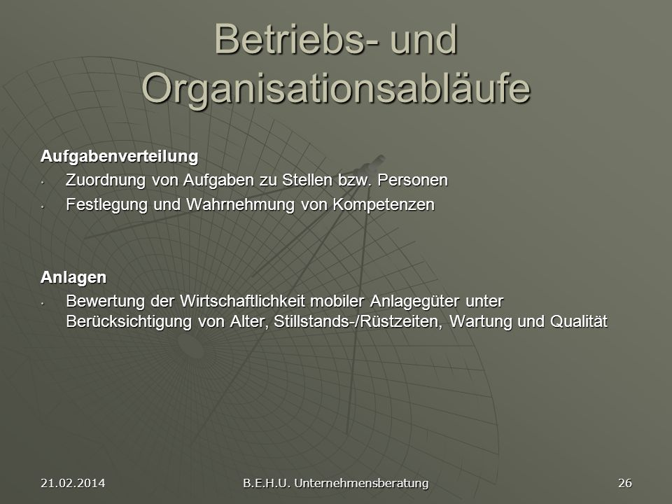 Betriebs- und Organisationsabläufe