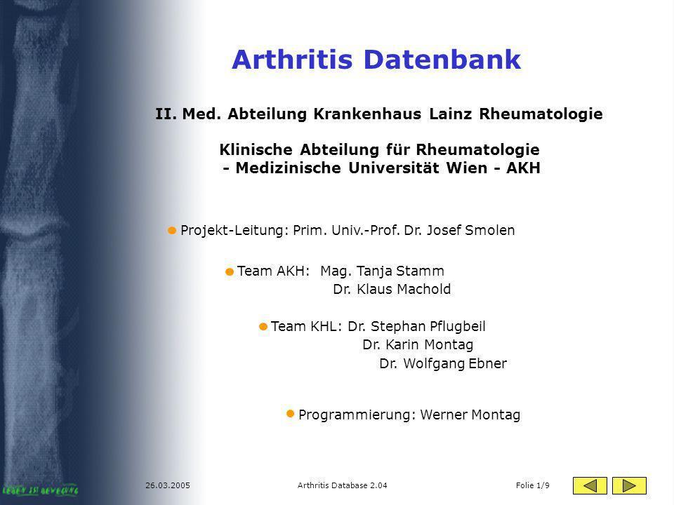Arthritis Datenbank II. Med. Abteilung Krankenhaus Lainz Rheumatologie