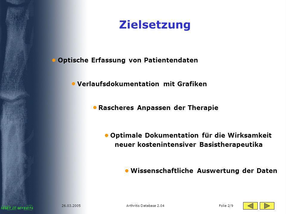Zielsetzung Optische Erfassung von Patientendaten