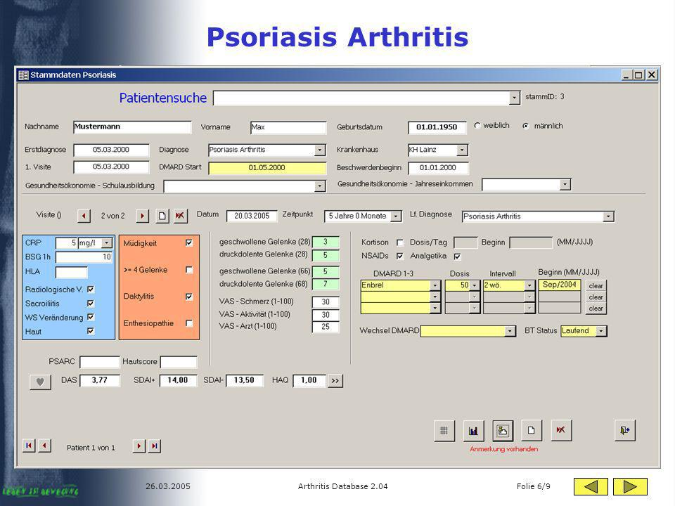 Psoriasis Arthritis 26.03.2005 Arthritis Database 2.04