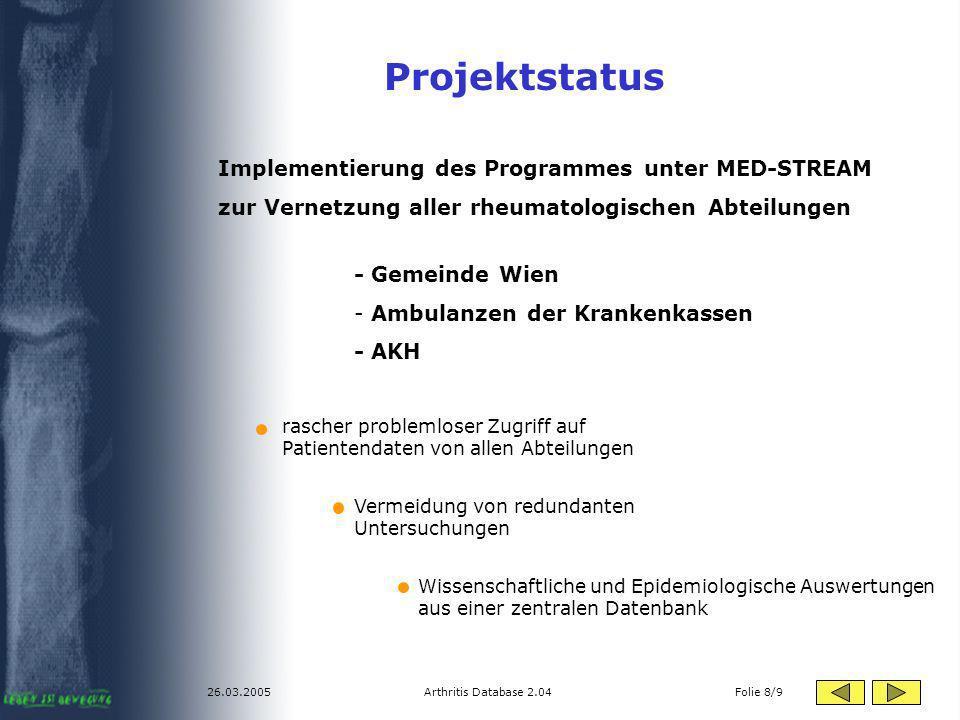 Projektstatus Implementierung des Programmes unter MED-STREAM