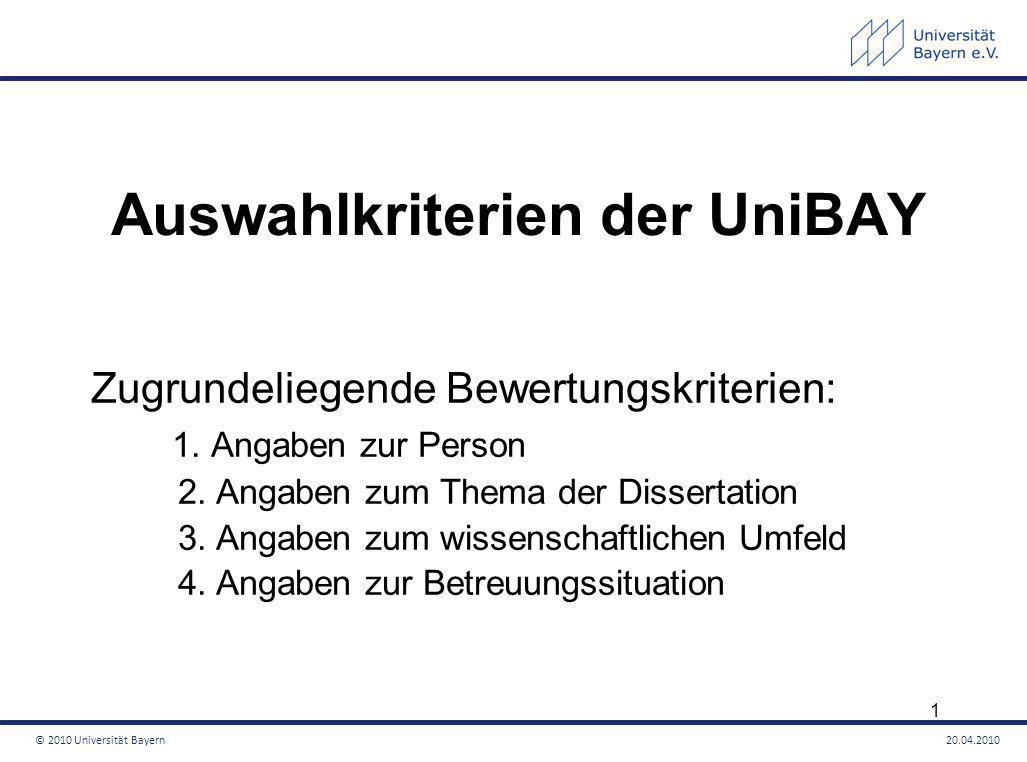 Auswahlkriterien der UniBAY