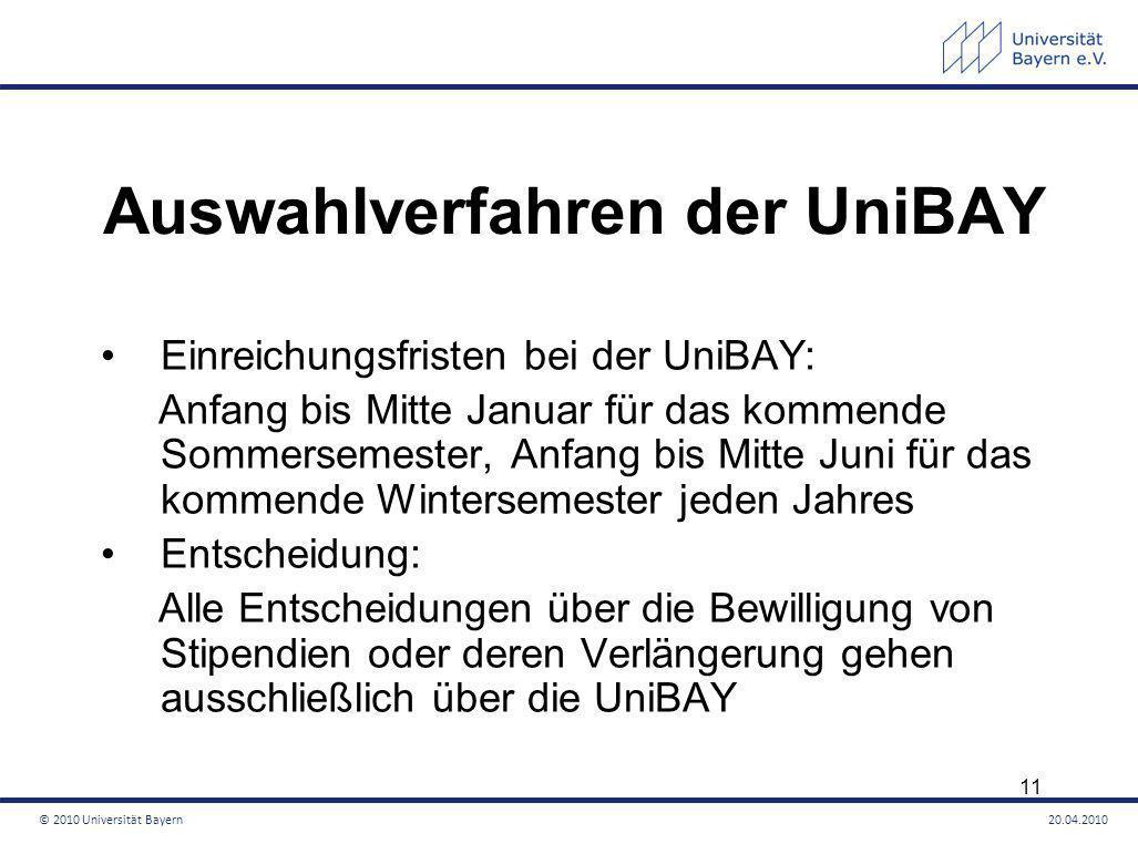Auswahlverfahren der UniBAY