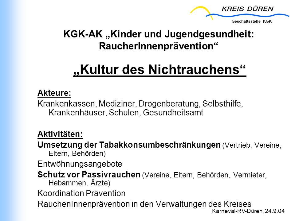 """KGK-AK """"Kinder und Jugendgesundheit: RaucherInnenprävention"""