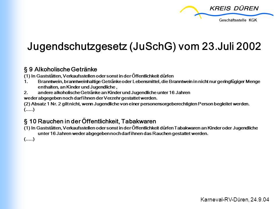 Jugendschutzgesetz (JuSchG) vom 23.Juli 2002