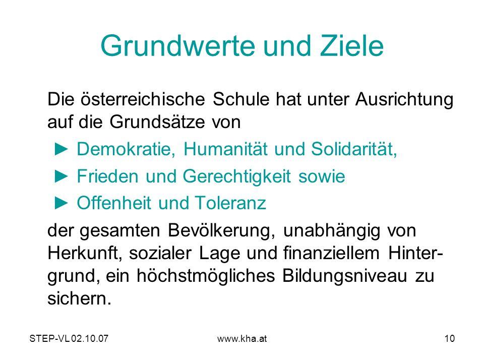 Grundwerte und Ziele Die österreichische Schule hat unter Ausrichtung auf die Grundsätze von. ► Demokratie, Humanität und Solidarität,