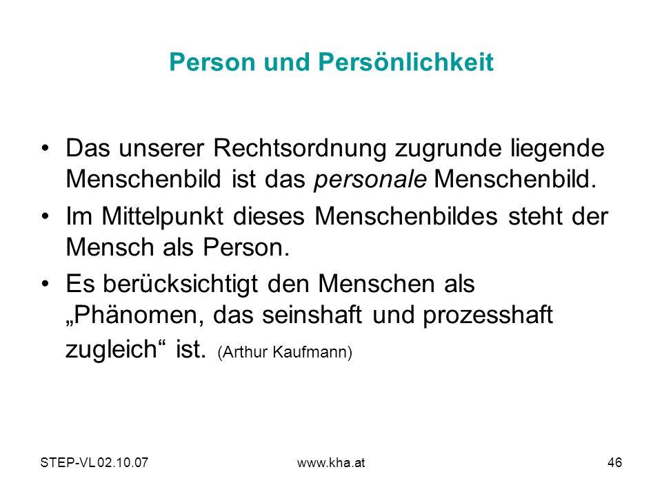 Person und Persönlichkeit