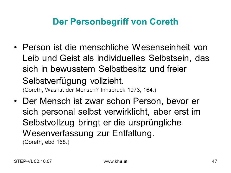 Der Personbegriff von Coreth