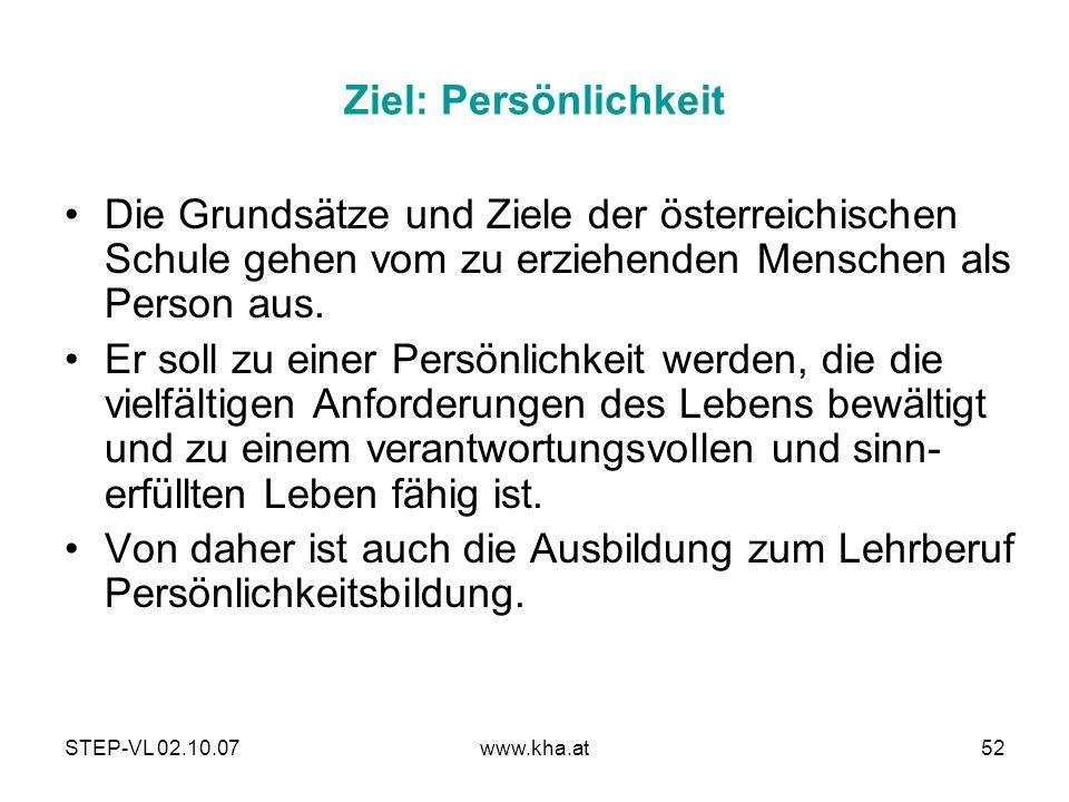 Ziel: Persönlichkeit Die Grundsätze und Ziele der österreichischen Schule gehen vom zu erziehenden Menschen als Person aus.