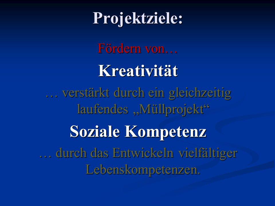 Projektziele: Kreativität Soziale Kompetenz