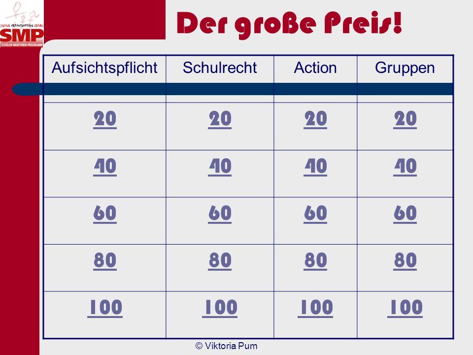 Der große Preis! 20 40 60 80 100 Aufsichtspflicht Schulrecht Action