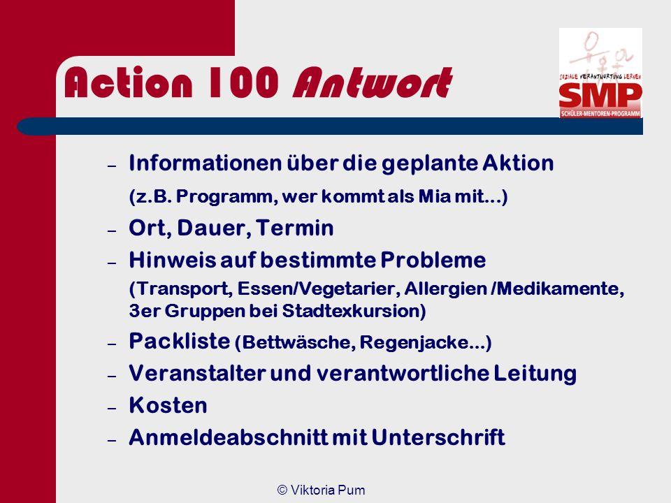 Action 100 Antwort Informationen über die geplante Aktion