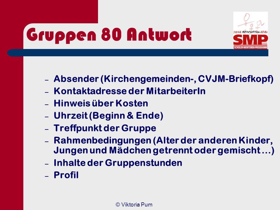 Gruppen 80 Antwort Absender (Kirchengemeinden-, CVJM-Briefkopf)