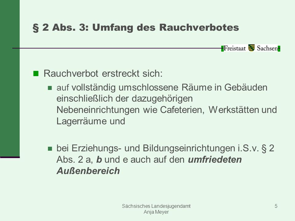 § 2 Abs. 3: Umfang des Rauchverbotes