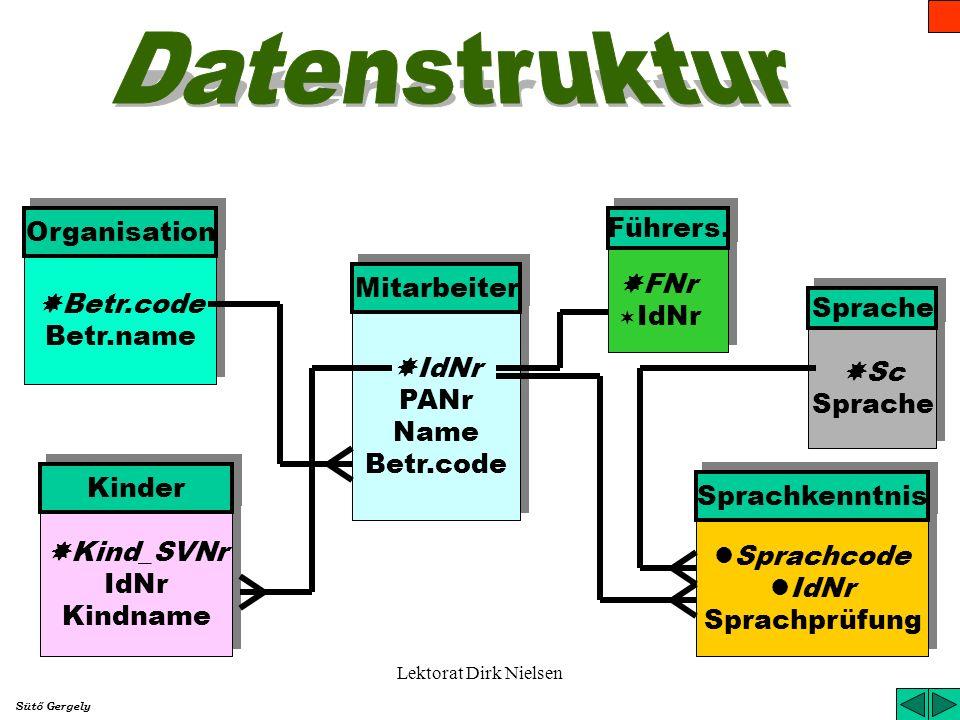 Datenstruktur Organisation Führers. FNr Mitarbeiter Betr.code