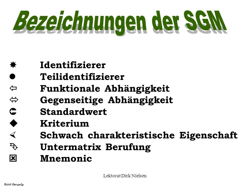 Bezeichnungen der SGM  Identifizierer  Teilidentifizierer