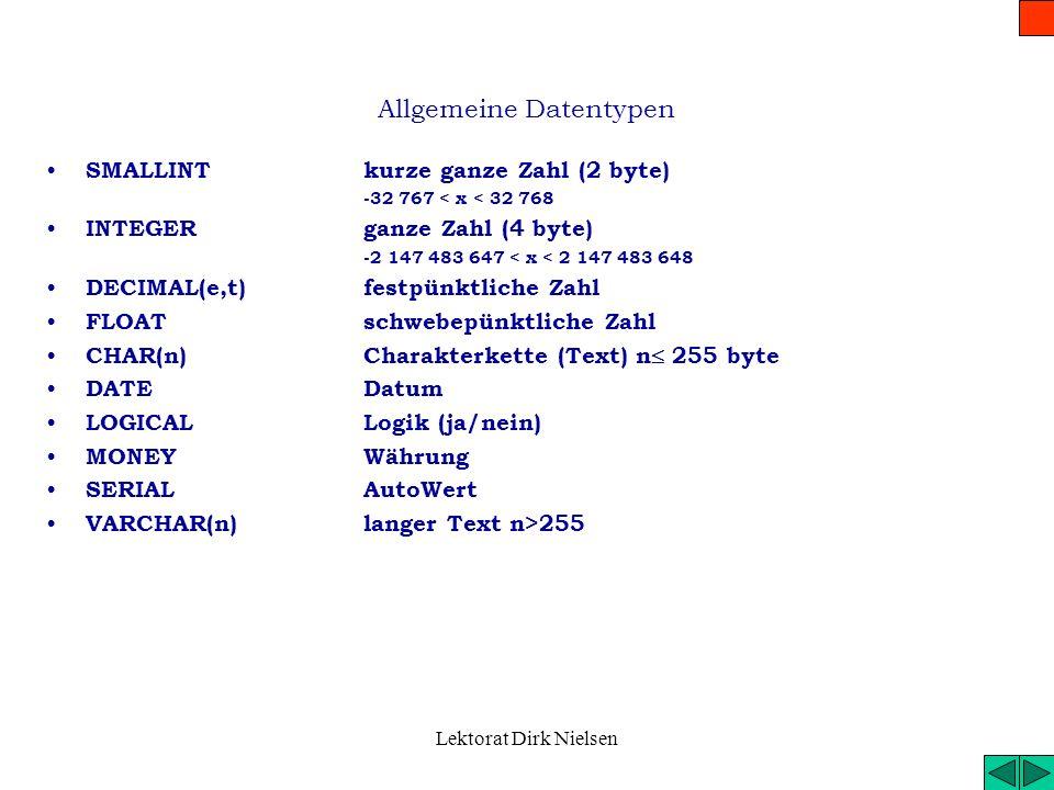Allgemeine Datentypen