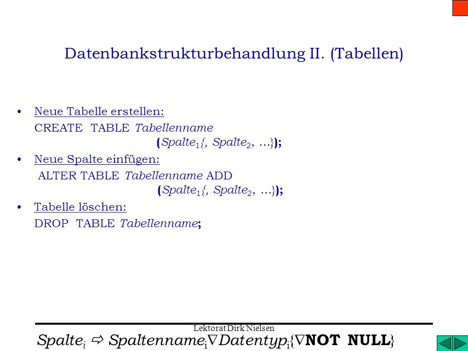 Datenbankstrukturbehandlung II. (Tabellen)