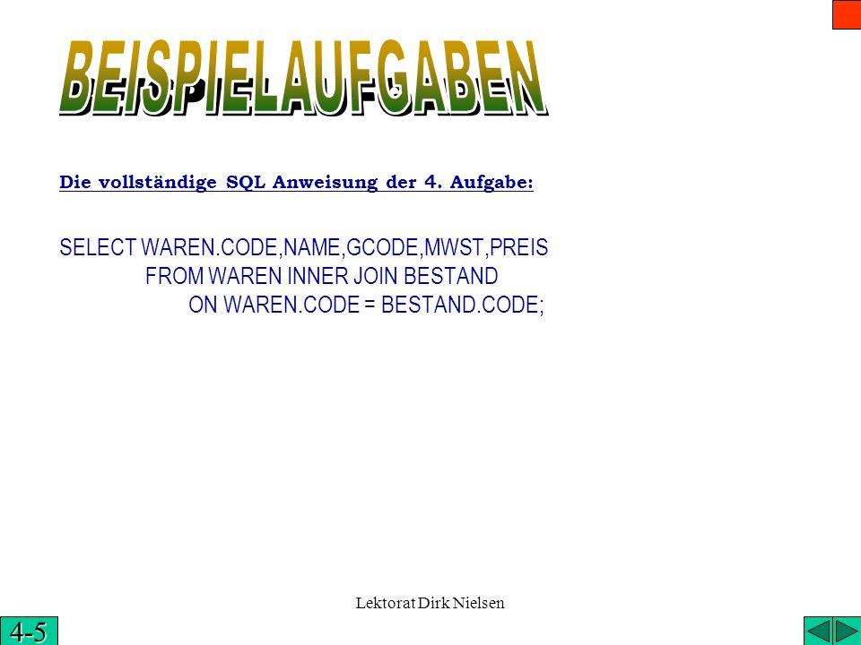 BEISPIELAUFGABENDie vollständige SQL Anweisung der 4. Aufgabe: