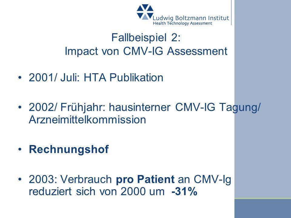 Fallbeispiel 2: Impact von CMV-IG Assessment