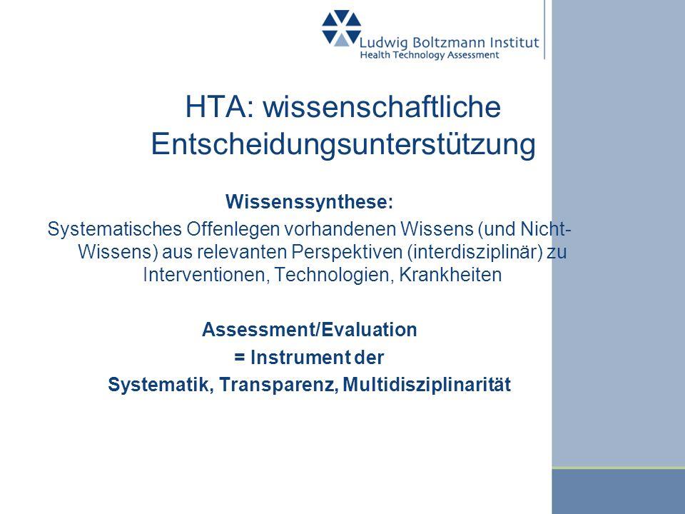 HTA: wissenschaftliche Entscheidungsunterstützung