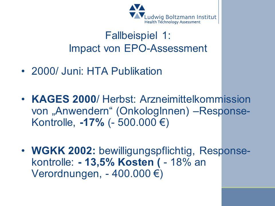 Fallbeispiel 1: Impact von EPO-Assessment
