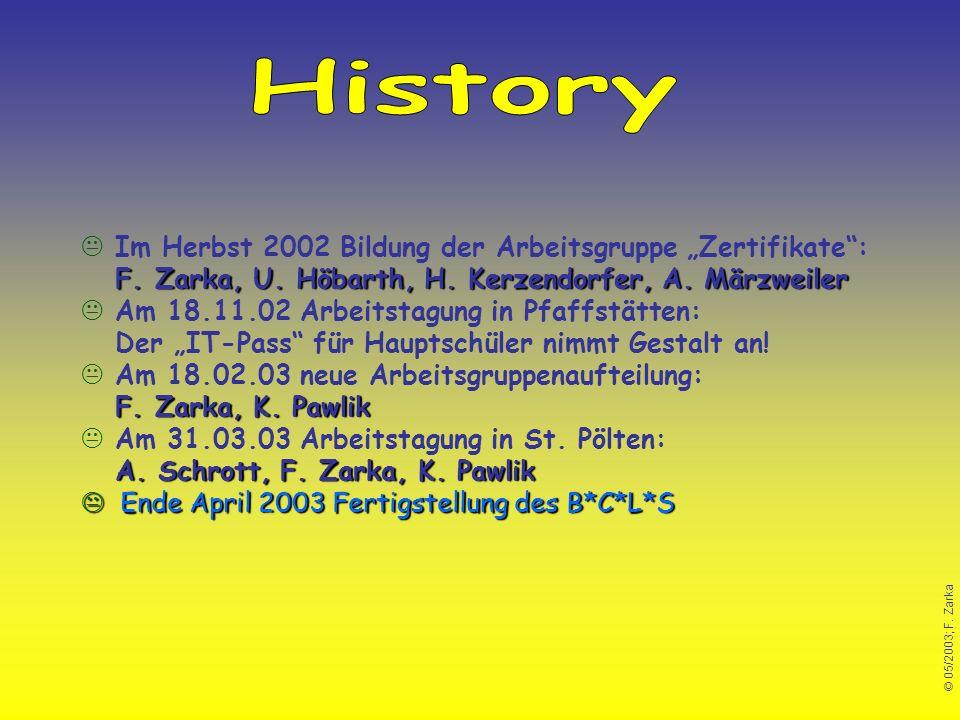 """History Im Herbst 2002 Bildung der Arbeitsgruppe """"Zertifikate : F. Zarka, U. Höbarth, H. Kerzendorfer, A. Märzweiler."""