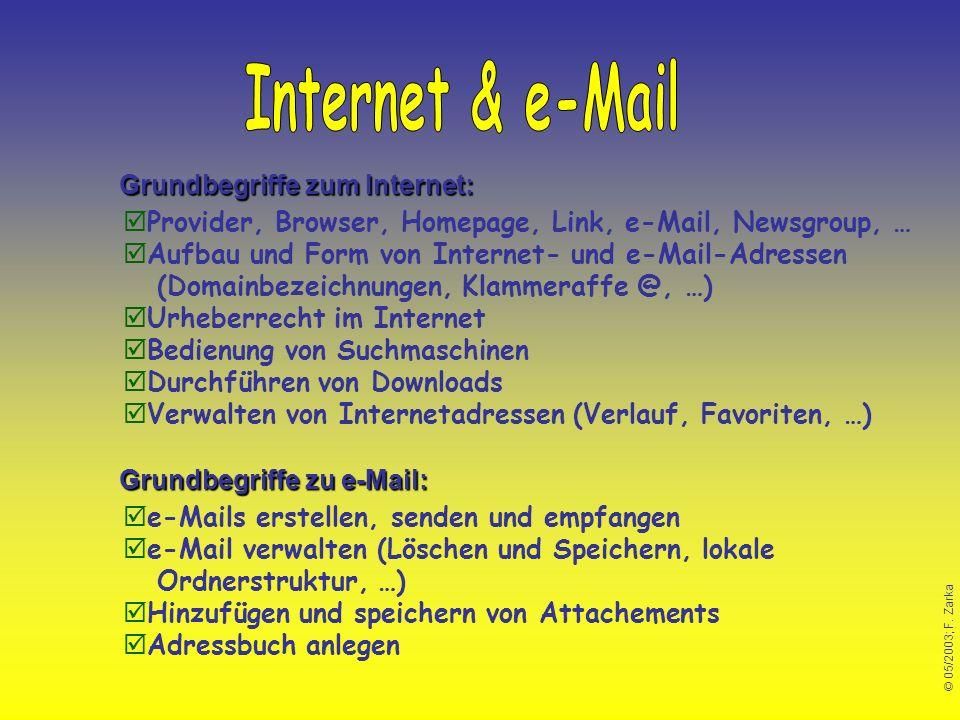 Internet & e-Mail Grundbegriffe zum Internet: