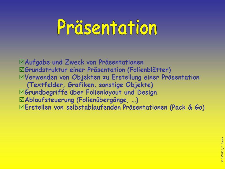 Präsentation Aufgabe und Zweck von Präsentationen