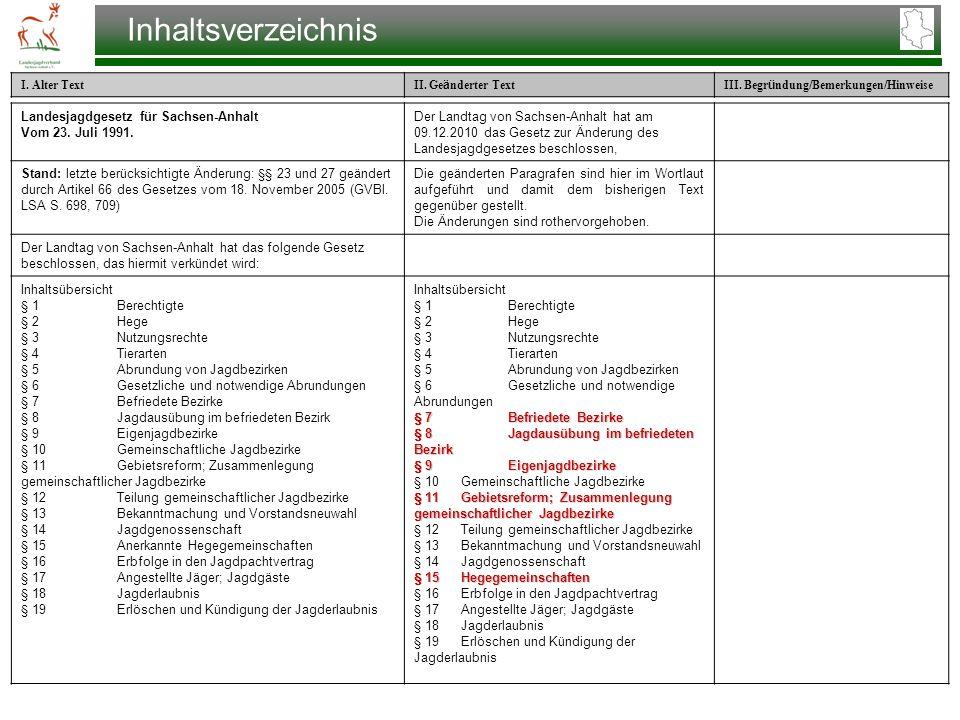 Inhaltsverzeichnis Landesjagdgesetz für Sachsen-Anhalt Vom 23. Juli 1991.