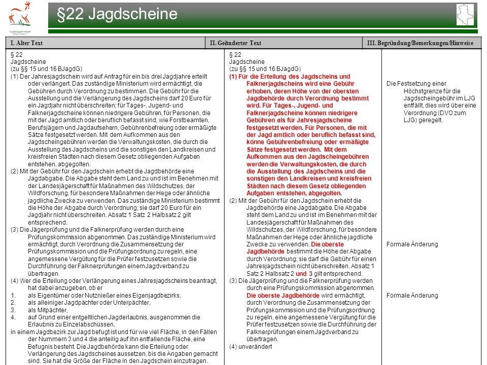 §22 Jagdscheine § 22 Jagdscheine (zu §§ 15 und 16 BJagdG)
