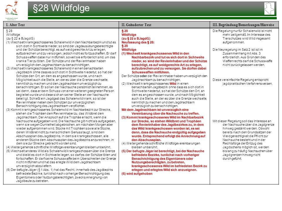 §28 Wildfolge § 28 Wildfolge (zu § 22 a BJagdG)