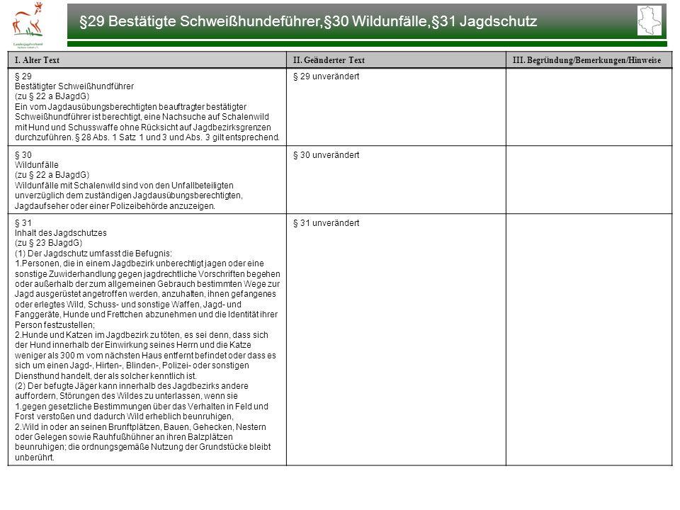 §29 Bestätigte Schweißhundeführer,§30 Wildunfälle,§31 Jagdschutz