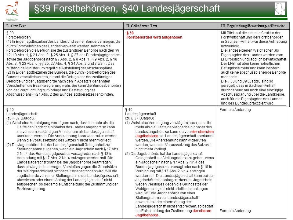 §39 Forstbehörden, §40 Landesjägerschaft