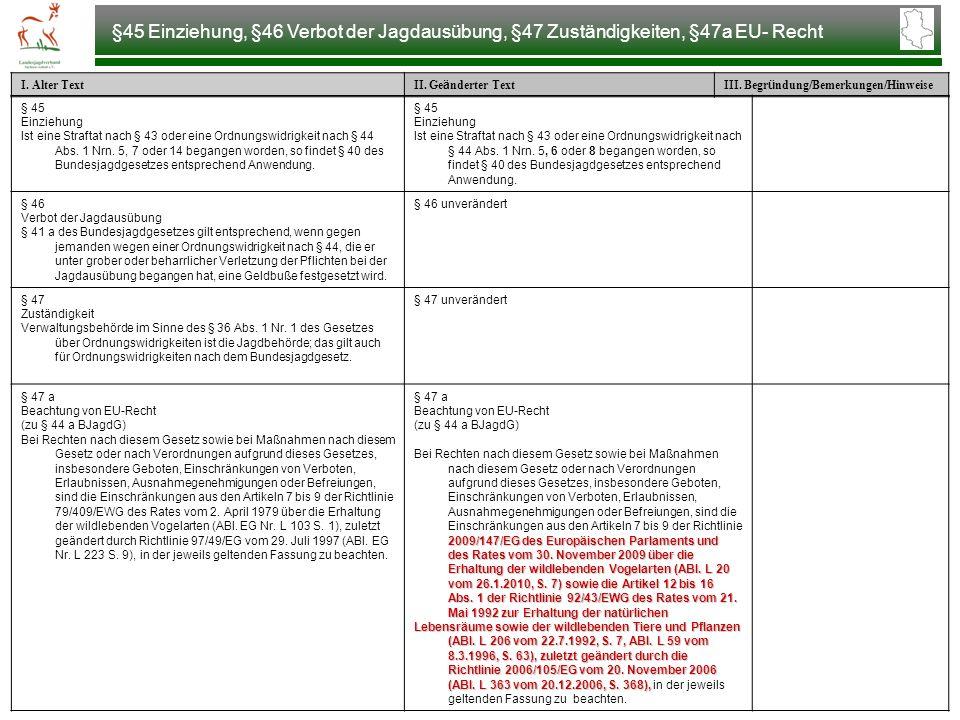 §45 Einziehung, §46 Verbot der Jagdausübung, §47 Zuständigkeiten, §47a EU- Recht