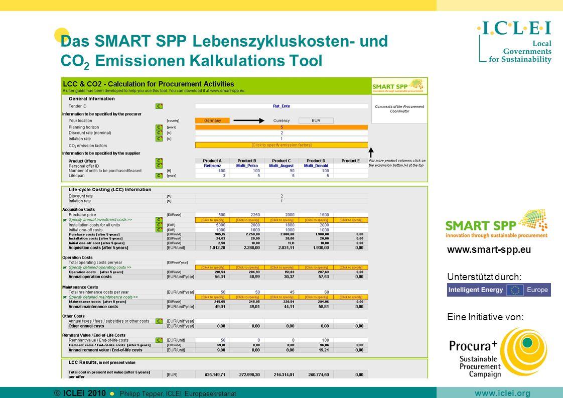 Das SMART SPP Lebenszykluskosten- und CO2 Emissionen Kalkulations Tool