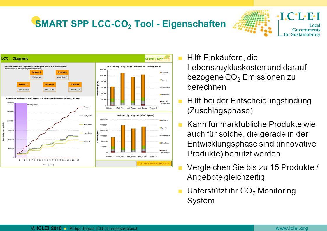 SMART SPP LCC-CO2 Tool - Eigenschaften