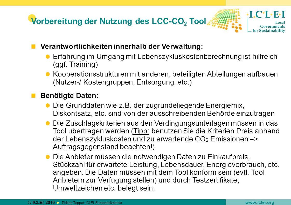 Vorbereitung der Nutzung des LCC-CO2 Tools