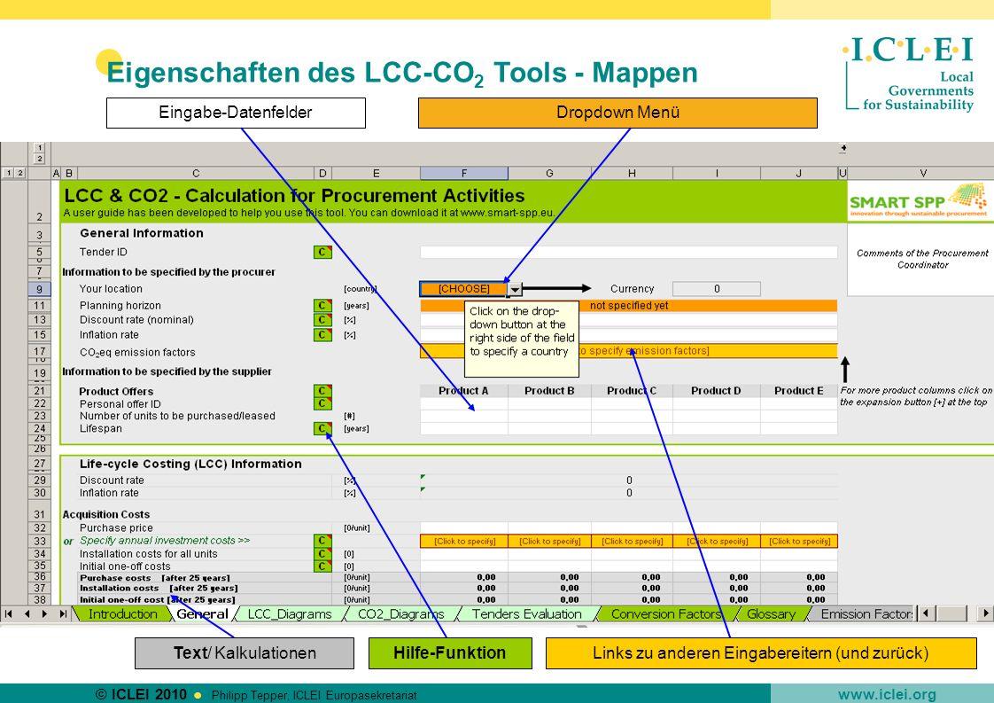 Eigenschaften des LCC-CO2 Tools - Mappen