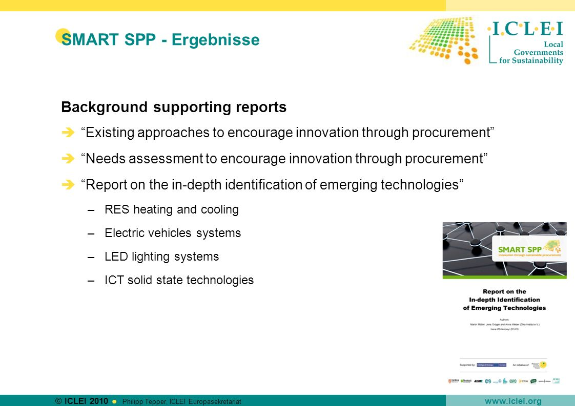 SMART SPP - Ergebnisse Background supporting reports